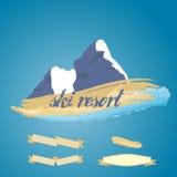 Mountains symbol with ribbon Stock Photos