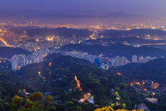 Mountains and Taipei downtown aerial view Stock Photography