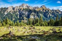 Mountains Tannheimer Tal. Image mountains near Nesselwaengle of the Tannheimer Tal in Austria, Europe Royalty Free Stock Photos