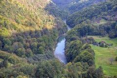 Tara river valley. Mountains and Tara river canyon in Durmitor royalty free stock image
