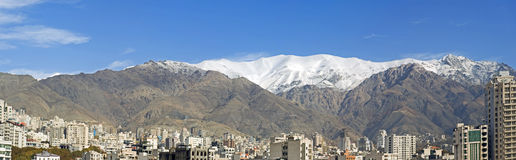 Mountains of Tehran. Panoramic view at the mountains in the north of Tehran Stock Photo