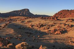 Mountains mountains valley in Teide National park sunset royalty free stock images