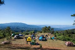 mountains tent bivouac Royalty Free Stock Photos