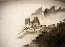 Mountains and thick fog. Asian mountains and thick fog Royalty Free Stock Photos