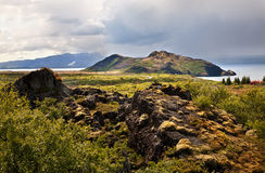 Mountains and Thingvallavatn lake Stock Image