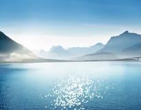 Mountains (tilt shift), Lofoten islands, Norway. Europa royalty free stock image