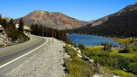 Tioga Pass Road Yosemite National Park,California. Mountains - Tioga Pass Road and lake in Yosemite National Park.  California, U.S Stock Photos
