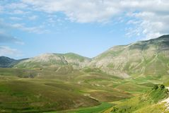 Mountains to Castelluccio of Norcia Royalty Free Stock Images