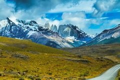 Mountains in Torres del Paine National Park stock photography