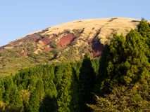 Mountains touched by landslides inside Aso volcanic caldera after 2016 Kumamoto earthquakes. Aso-Kuju National Park, Japan royalty free stock images