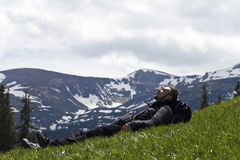 Mountains, tourist, relax, lie Royalty Free Stock Image