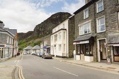 Blaenau Ffestiniog Wales. Mountains towering above the Welsh town of Blaenau Ffestiniog famous for its slate mines and situated within the Snowdonia National royalty free stock image