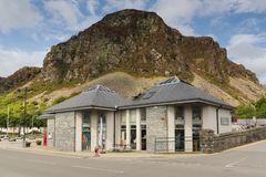 Blaenau Ffestiniog Wales. Gareg Ddu mountain towering above the Welsh town of Blaenau Ffestiniog famous for it`s slate mines and situated in the centre of the royalty free stock photography
