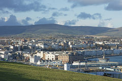 Mountains and town of Douglas Isle of Man Stock Photography