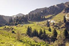 It is in the mountains of Trans-Ili Alatau. Weather changes frequently in the mountains of Trans-Ili Alatau spring Royalty Free Stock Image