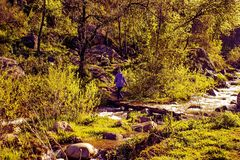 It is in the mountains of Trans-Ili Alatau. Weather changes frequently in the mountains of Trans-Ili Alatau spring Stock Images