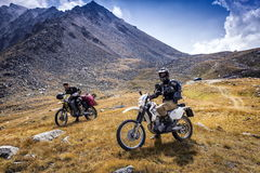 In the mountains. Travelers on motorcycles in the mountains of Trans-Ili Alatau stock image