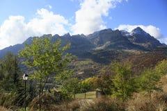 Mountains  and trees in Pyrenees, autumn, Valle de Tena Royalty Free Stock Photos