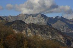 Mountains  and trees in Pyrenees, autumn, Valle de Tena Stock Photos