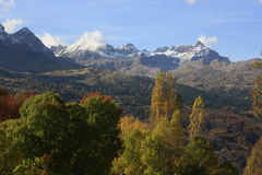 Mountains  and trees in Pyrenees, autumn, Valle de Tena Royalty Free Stock Photography