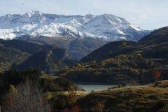 Mountains and trees in Pyrenees, Sallent de gállego Stock Photos