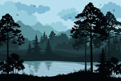 Mountains, Trees and River. Evening Forest Landscape, Silhouettes Pines and Fir Trees, Bushes, Grass on the Mountain River Bank and Cloudy Sky with Birds. Vector Stock Photography