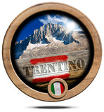 Mountains of Trentino - Wooden Symbol Stock Images