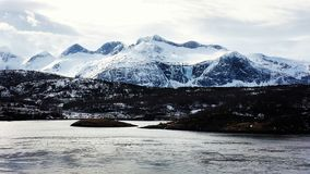 Mountains in Troms fjord Royalty Free Stock Images