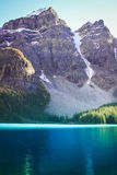 Mountains with turquoise lake. Rocky mountains at Lake Louise, Alberta Canada Royalty Free Stock Image