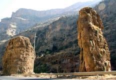 Mountains. Two enormous vertical stone is on a mountain of kurdistan royalty free stock photos