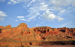 Mountains under blue sky. Colorful mountains under blue sky and white clouds besides dry Yellow River in North China Stock Photography
