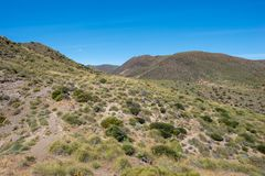 Mountains under the blue sky in Almeria. Spain Royalty Free Stock Photo