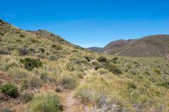 Mountains under the blue sky in Almeria. Spain Stock Photography
