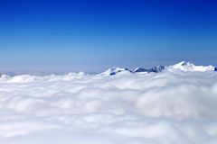 Mountains under clouds at nice day Royalty Free Stock Photography