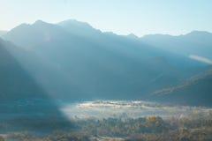 Mountains under the fog Stock Photo