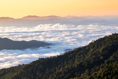 Mountains under mist in the morning Royalty Free Stock Photo