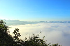Mountains under mist in the morning Royalty Free Stock Photography
