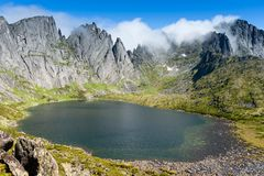 Mountains under the name Dusse Alin in Russian Far East Khabarovsk region. Beautiful Mountain Lake is called the Bear in. The mountains Dusse Alin stock image