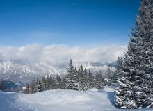 Mountains under snow. Schladming . Austria Royalty Free Stock Images