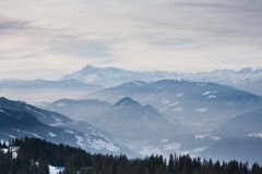 Mountains under snow in the winter Stock Photography