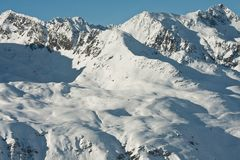 Mountains under snow in the winter. Ski resort  Obergurgl. Austria Royalty Free Stock Image