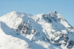 Mountains under snow in the winter. Ski resort  Obergurgl. Austria Royalty Free Stock Photo