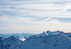 Mountains under snow in the winter. Alps. Solden. Austria Stock Photography