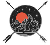 Mountains under starry sky, crossing arrows. Vector template in boho style. Emblem, tattoo sketch, decorative element, illustration Royalty Free Stock Images