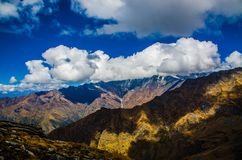 Mountains Under White Clouds Stock Photo