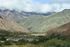 Mountains V. Mountainsides of Jujuy, Argentina lined with cacti and sand Stock Photography