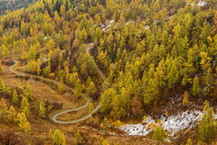 Mountains valley autumn fog top view Royalty Free Stock Images
