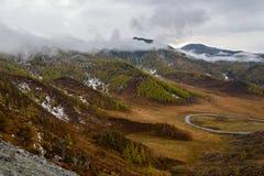 Mountains valley autumn fog top view Royalty Free Stock Photos