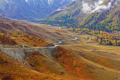 Mountains valley autumn fog top view Royalty Free Stock Photography