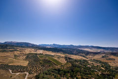 Mountains, valley and a blue sky. The picture shows mountains, a valley and a sunny blue sky at the Costa del Sol in Spain Royalty Free Stock Photo